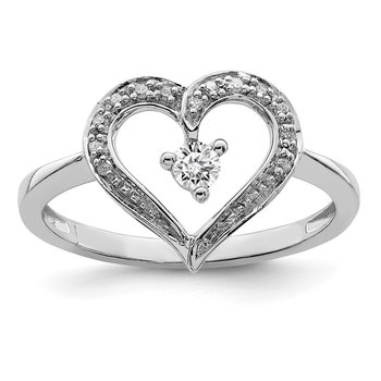 Sterling Silver Rhodium Diam. Open Heart Ring