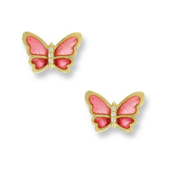 Pink Butterfly Stud Earrings.18K -Diamonds - Plique-a-Jour