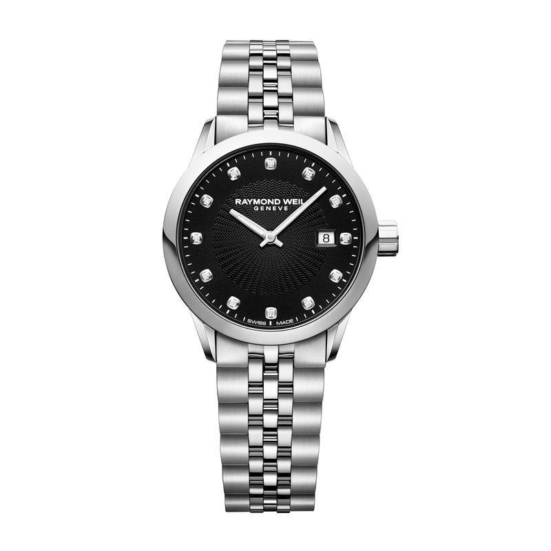 Ladies Quartz Date Watch, 29mm steel on steel, black dial, 12 diamonds