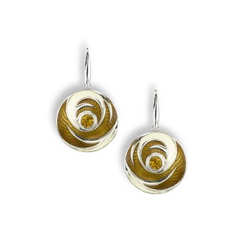 Yellow Round Wire Earrings.Sterling Silver-Citrine