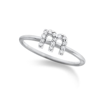 "Diamond Typewriter Initial ""M"" Ring"