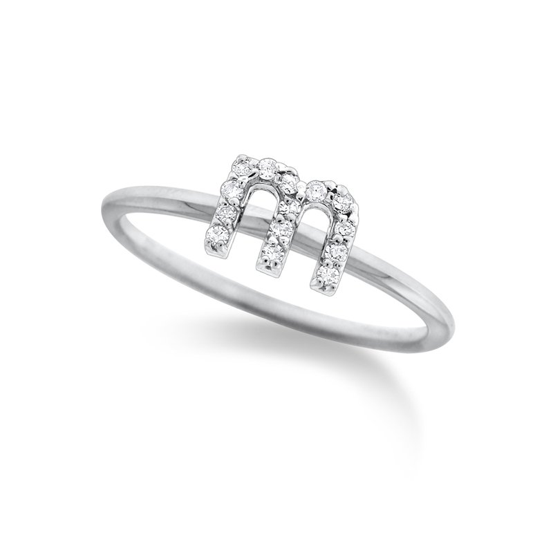 "KC Designs Diamond Typewriter Initial ""M"" Ring"