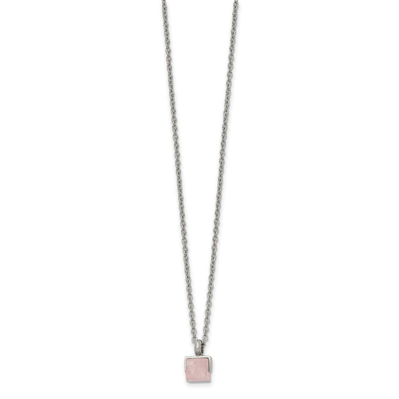 Chisel Stainless Steel Polished with Rose Quartz Square 16in w/2in ext. Necklace