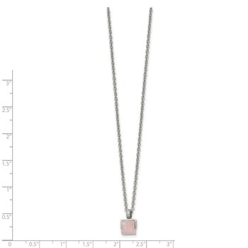 Stainless Steel Polished with Rose Quartz Square 16in w/2in ext. Necklace