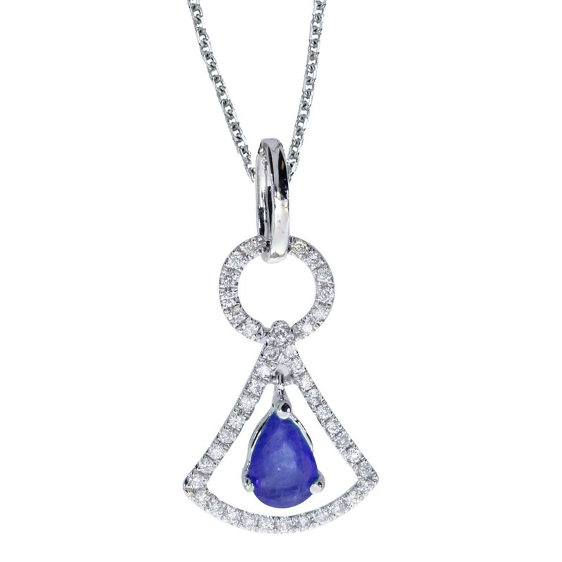14k White Gold Sapphire and .16 ct Diamond Pendant