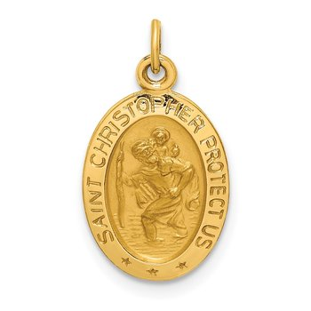 14k Solid Polished/Satin Extra Small Oval St. Christopher Medal
