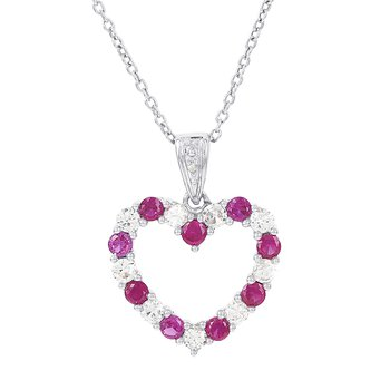 Sterling Silver Created Ruby and Created White Sapphire Diamond Accent  Heart Necklace