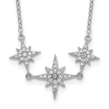 Sterling Silver Rhodium-plated CZ 3-Stars w/2in ext Necklace