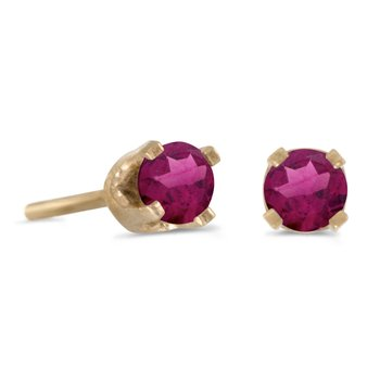 3 mm Petite Round Rhodolite Garnet Stud Earrings in 14k Yellow Gold