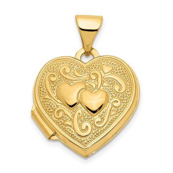 14ky Double Heart Locket