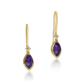 14K Yellow Gold Amethyst and Diamond Hook Earrings