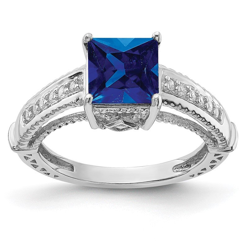 Quality Gold Sterling Silver Rhodium-plated Synthetic Blue Sapphire & CZ Ring