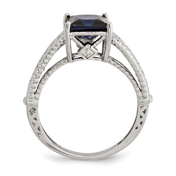 Sterling Silver Rhodium-plated Synthetic Blue Sapphire & CZ Ring