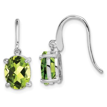 Sterling Silver Rhodium Peridot Wire Earrings