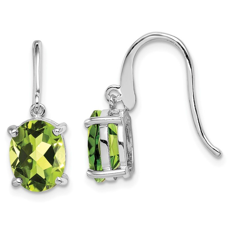 Quality Gold Sterling Silver Rhodium Peridot Wire Earrings