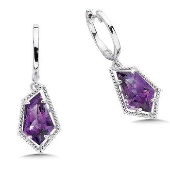 Sterling silver and purple amethyst earrings