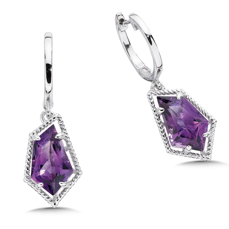 Colore SG Sterling silver and purple amethyst earrings