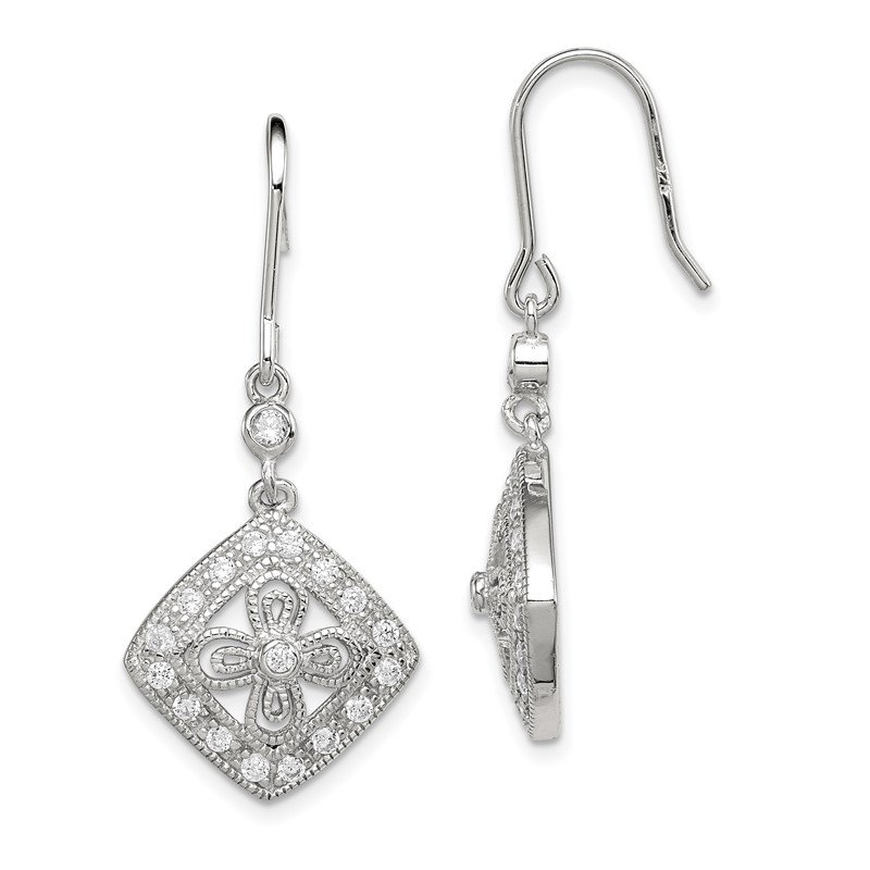 Quality Gold Sterling Silver CZ Dangle Earrings