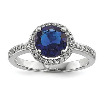 Sterling Silver Brilliant Embers Rhodium-plated White and Blue CZ Ring