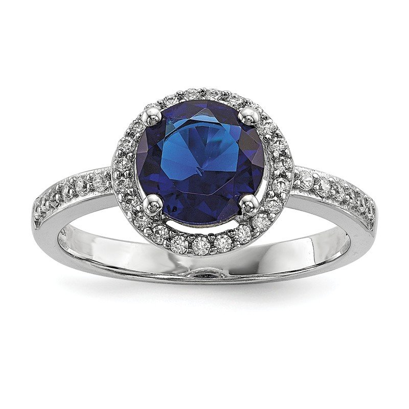 Quality Gold Sterling Silver White & Blue CZ Brilliant Embers Polished Ring