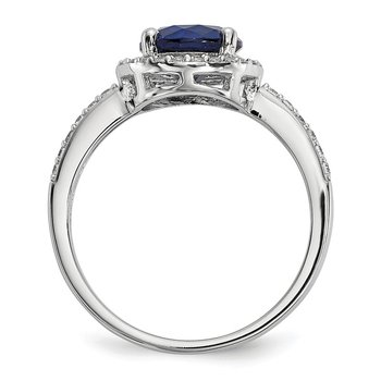 Sterling Silver White & Blue CZ Brilliant Embers Polished Ring