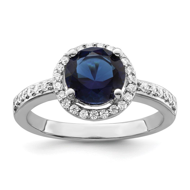 Quality Gold Sterling Silver Brilliant Embers Rhodium-plated White and Blue CZ Ring