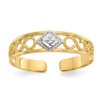 14k & Rhodium Diamond-Cut Toe Ring