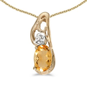 10k Yellow Gold Oval Citrine And Diamond Pendant