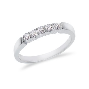 14K White Gold .75 ct Diamond Five Stone Band Ring