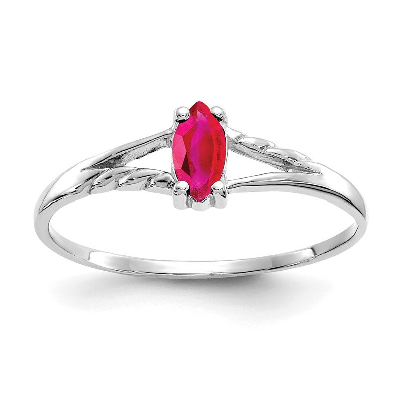 Quality Gold 10k White Gold Polished Geniune Ruby Birthstone Ring