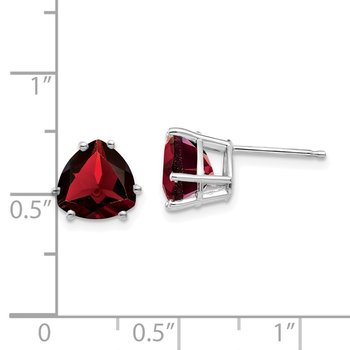 14k White Gold Garnet Trillion Stud Earrings