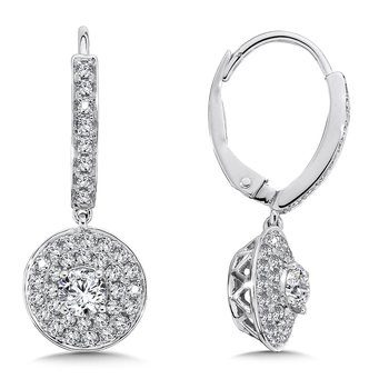 Diamond Drop Earrings with Round Double Halo in 14K White Gold with Platinum Post (1/2ct. tw.)