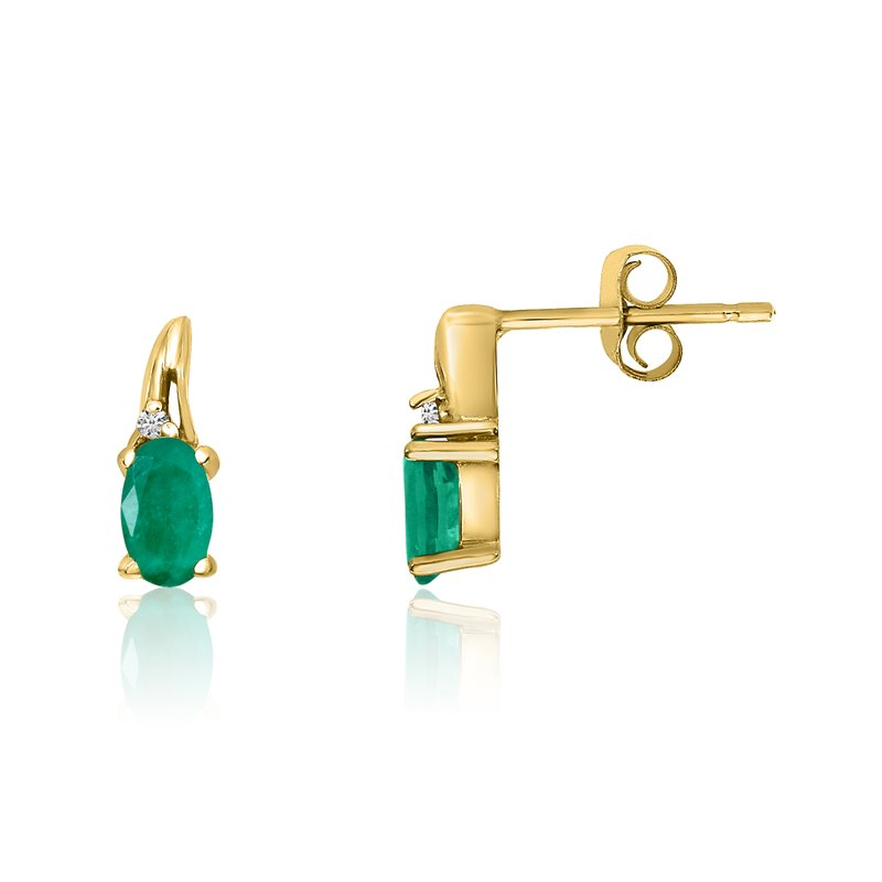 Color Merchants 14k Yellow Gold Emerald and Diamond Earrings