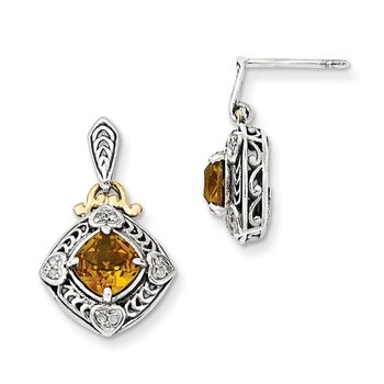 Sterling Silver w/14k Diamond & Citrine Earrings