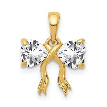 14k Gold Polished White Topaz Bow Pendant