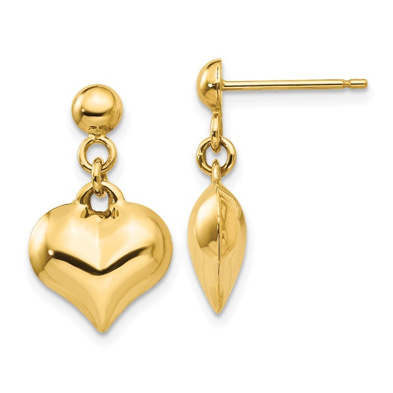 Quality Gold 14k Polished Puffed Heart Dangle Post Earrings