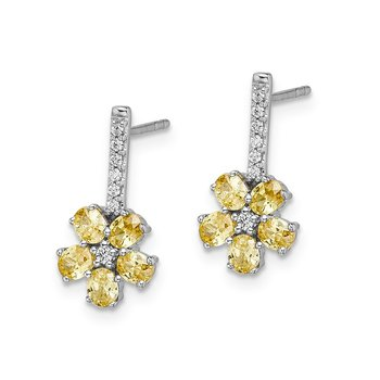 14k White Gold Diamond Citrine Flower Earrings
