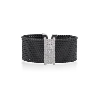 Limited Edition 40th Anniversary Cuff with Black Cable & Diamonds set in 18kt White Gold