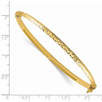 14k Polished Diamond-cut Hinged Bangle Bracelet