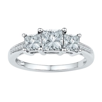 10kt White Gold Womens Princess Lab-Created White Sapphire 3-stone Ring 2.00 Cttw
