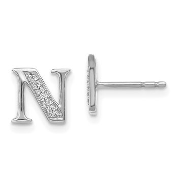 14k White Gold Diamond Initial N Earrings