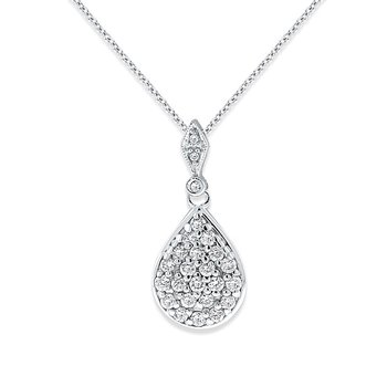 Diamond Large Teardrop With Bale Necklace in 14k White Gold with 25 Diamonds weighing .44ct tw.