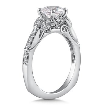 Diamond Engagement Ring Mounting in 14K White Gold with Platinum Head (.28 ct. tw.)