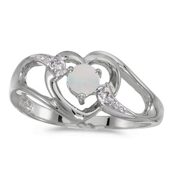 10k White Gold Round Opal And Diamond Heart Ring