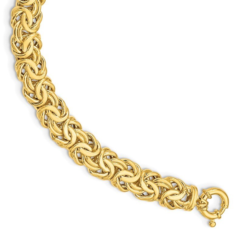 Quality Gold 14k Fancy 11mm Flat Byzantine Bracelet