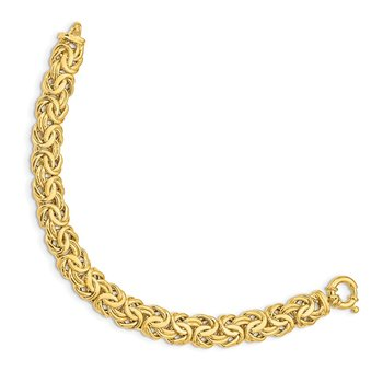 14k Fancy 11mm Flat Byzantine Bracelet