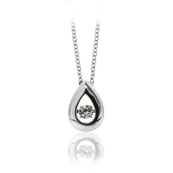 Rhodium Plated Silver, Teardrop Pendant, Shimmering Stone