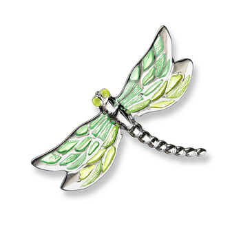 Fine Enamels Sterling Silver Dragonfly Brooch-Green