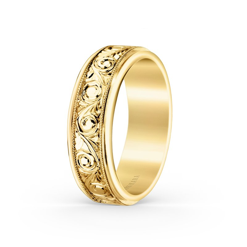18K Yellow Gold Engraved Elegant Mens Wedding Band 7mm