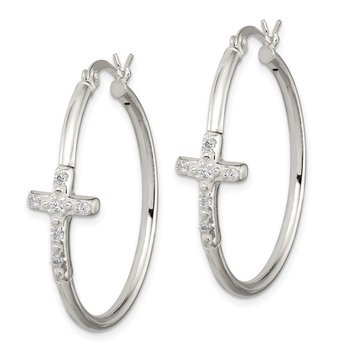 Sterling Silver Polished CZ Fancy Cross Hinged Hoop Earrings